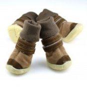 XS-XL Pet Winter shoes Anti-slip Cotton Soft Leather Cashmere Waterproof Warm Booties Boots Belt Decoration dog winter shoes