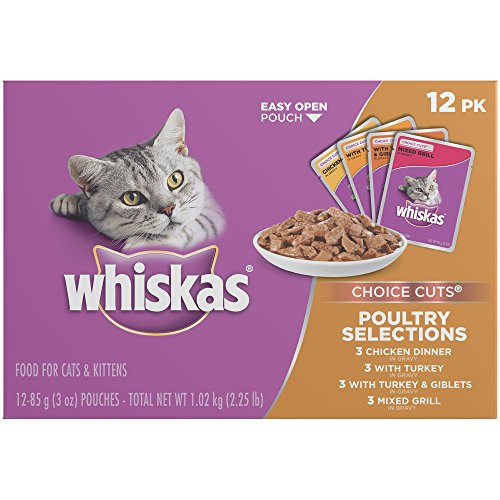 WHISKAS CHOICE CUTS Poultry Selections Variety Pack Wet Cat Food 3 Ounces (12-Count Boxes)