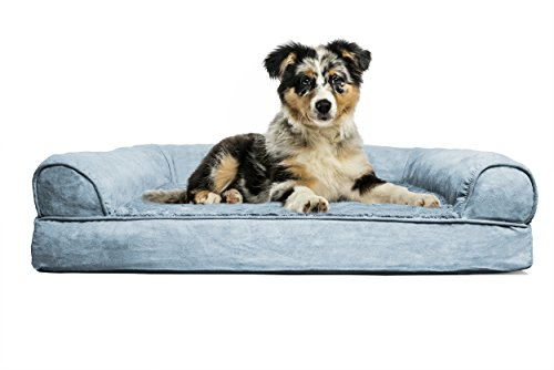 FurHaven Medium Plush & Suede Orthopedic Sofa Pet Bed for Dogs and Cats, Deep Pool